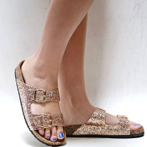 New Rose Gold Glitter Cork Slip On Slides Sandals